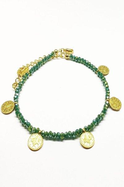NesliWorld Yeşil Kristal Boncuk Ve Tuğra Metal Aparatlı Kadın Halhal