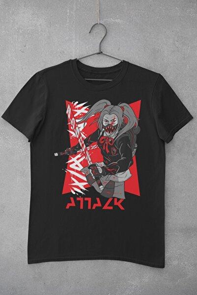 Tshigo Kadın Siyah Atack Baskılı T-shirt