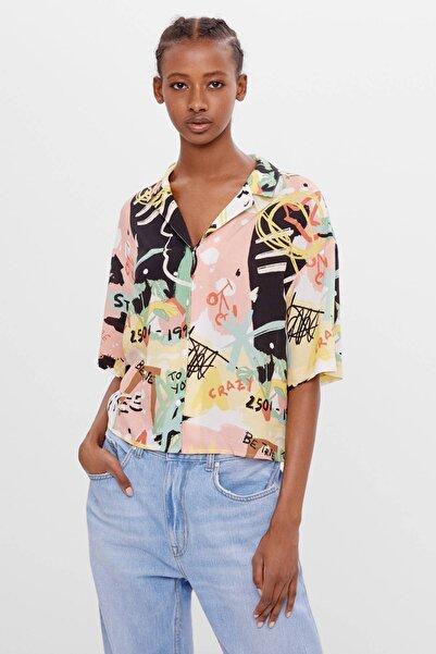 Bershka Kadın Çok Renkli Desenli Gömlek