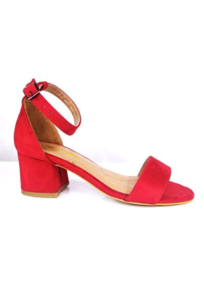 PUNTO Kadın Kırmızı Kalın Topuklu Tek Bant Ayakkabı