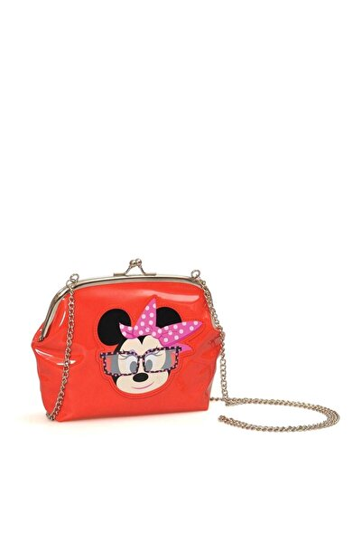 Minnie Mouse Kız Çocuk Kırmızı Baskılı Zincirli Omuz Çantası