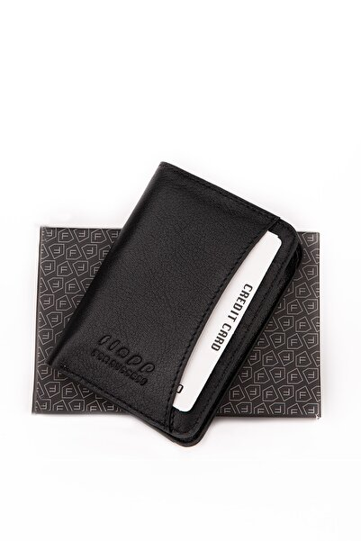 Flapp Unisex Siyah Hakiki Deri Mini Kartlık