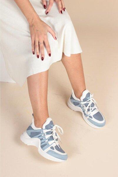 Kadın Beyaz Mavi Sneaker