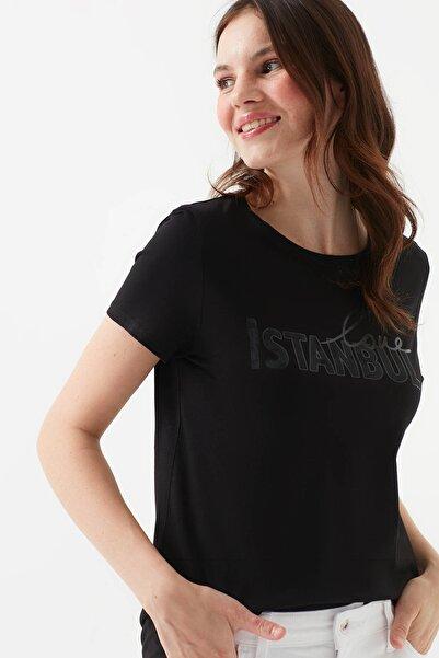 Kadın Love İstanbul Baskılı Siyah T-Shirt 1600316-900