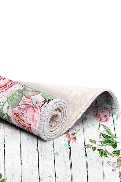 EXCLUSIVE Saray Dijital Halı Saçaklı Jana Çiçekli Beyaz Çiçekli