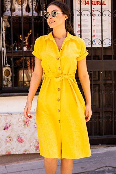 armonika Kadın Sarı Beli Kemerli Kısa Kol Gömlek Elbise Arm-19Y001068