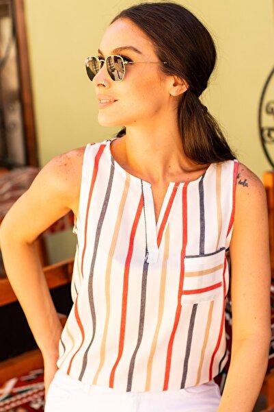 armonika Kadın Kırmızı Renkli Çizgili Cepli Kolsuz Gömlek Arm-19Y001062