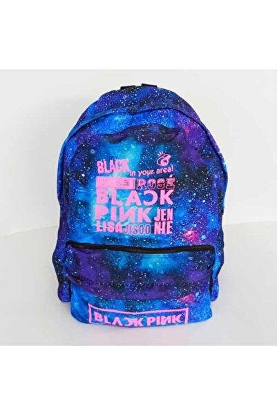 Makko Polo Unisex Mavi Black Pink Baskılı Sırt Çantası