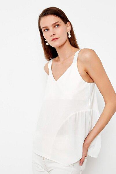 Kadın Beyaz Grogren Askılı Bluz IS1200070151096
