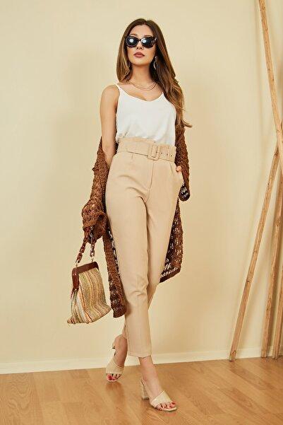 Vis a Vis Kadın Bej Yüksek Bel Kemerli Pantolon