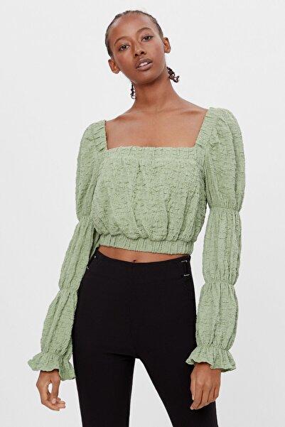Bershka Kadın Yeşil Büzgü Kollu Bluz