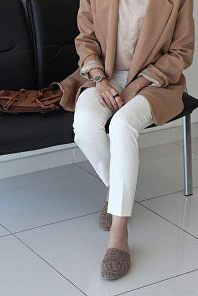 Kadın Ekru Fermuarlı Pantolon