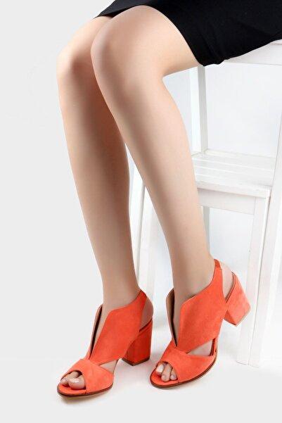Nicoletta Kadın Turuncu Süet Bilekten Bağlamalı Kalın Topuklu Sandalet