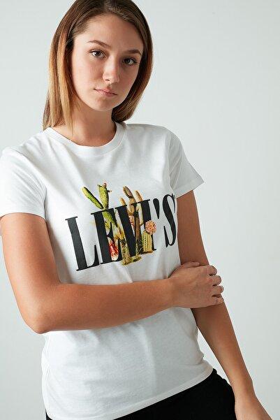 Levi's Kadın Ekru Pamuklu Baskılı Bisiklet Yaka Tişört