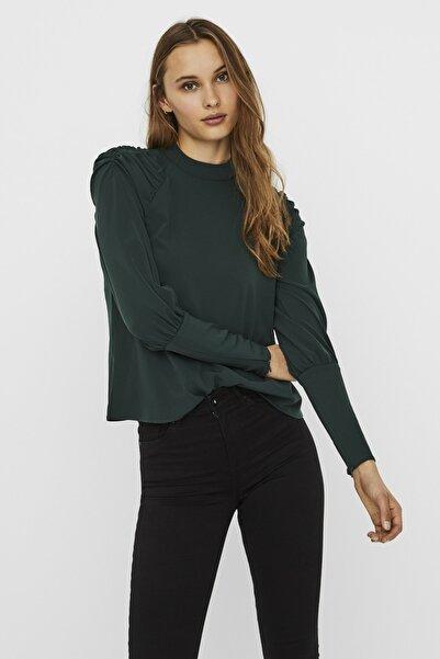 Vero Moda Kadın Yeşil Omuz Detaylı Dokuma Bluz 10237164 VMELITA