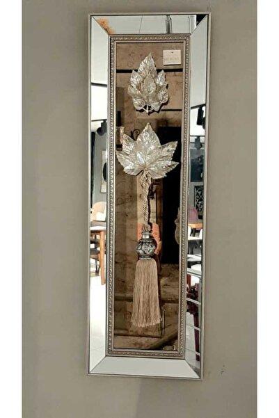 Evdema Pcs-741g Gümüş Yaprak Desenli Ayna Dekoratif Duvar Obje 35*108 Cm