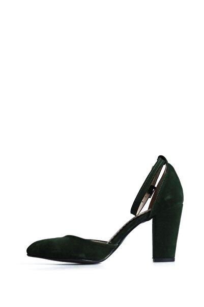 PUNTO Kadın  Yeşil Süet Günlük Topuklu Ayakkabı