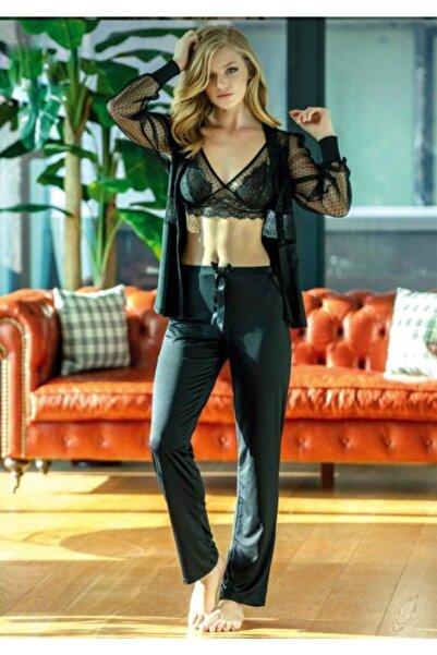 Anıl Kadın Siyah Dantel Sabahlıklı Sütyen Pantolon Ev Giyim 4798
