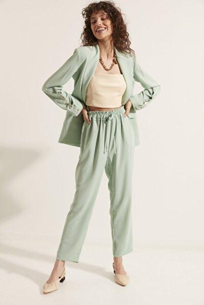 Say Kadın Yeşil Beli Lastikli Pantolon