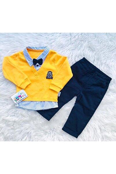 Gaye Bebe Erkek Bebek Sarı Sahte Gömlekli Papyonlu 2'li Takım