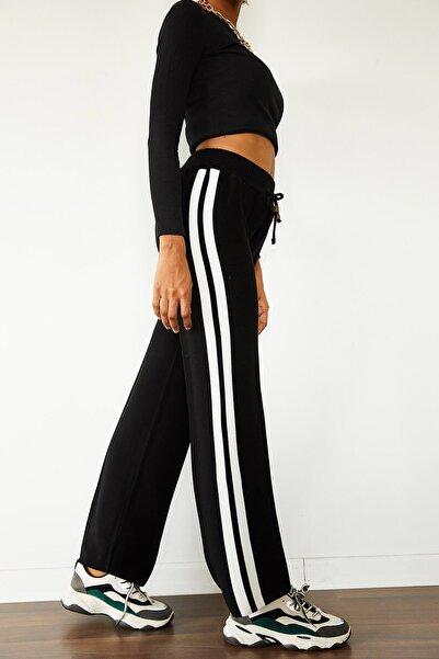 XENA Kadın Siyah & Beyaz Yanı Şeritli Yüksek Bel Triko Pantolon 1KZK8-10777-02