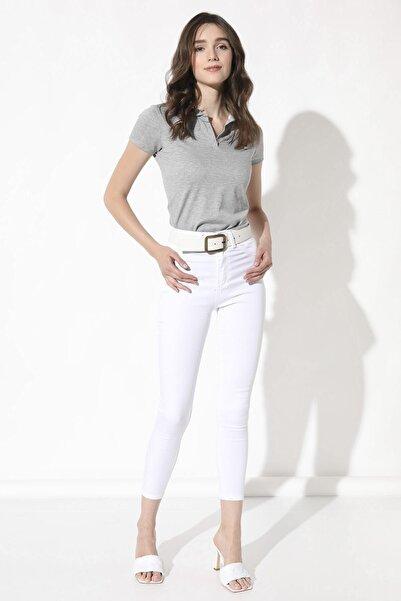 Arma Life Kadın Beyaz Yüksek Bel Likralı Pantolon