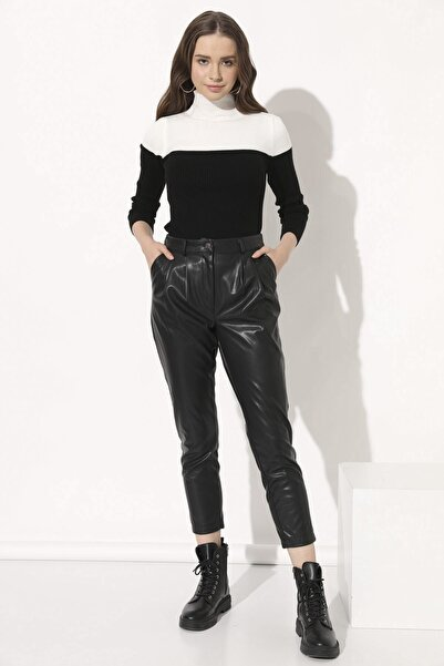 Arma Life Kadın Siyah Deri Havuç Pantolon