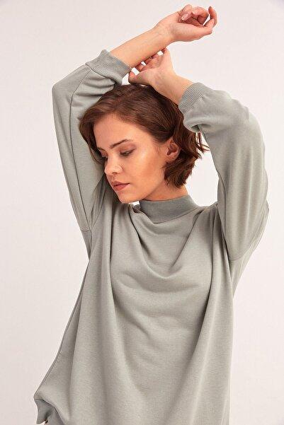 Fulla Moda Kadın Yeşil Yarım Balıkçı Yaka Sweatshirt