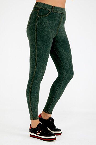 Siyezen Büyük Beden Haki Jean Görünümlü Tayt Pantolon