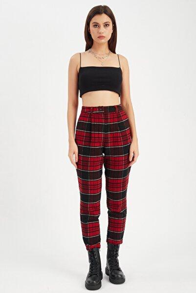 Manche Kadın Kırmızı Mom Fit Flannel Pantolon   Mk21w660089