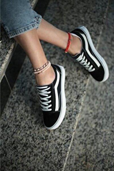 Kadın Siyah Beyaz Günlük Spor Ayakkabı