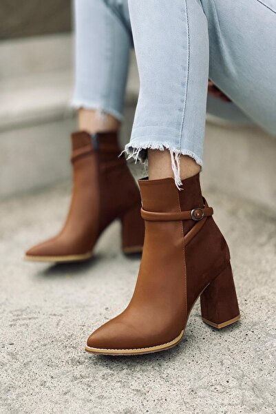 Mida Shoes Taba Cilt Tokalı Bot
