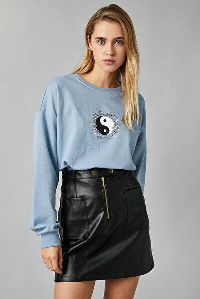 Koton Kadın Mavi Sweatshirt 1KAL68326IK
