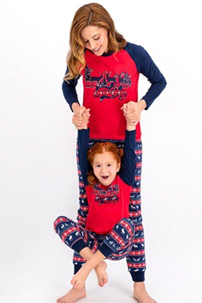 Arnetta Anne Kız Kombin Kırmızı Yılbaşı Pijama Takım 1015