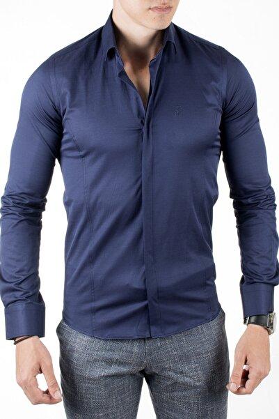DeepSEA Erkek Lacivert Gizli Düğmeli Klasik Gömlek