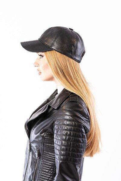 Pegia Unisex Siyah Hakiki Deri Şapka 19sb12