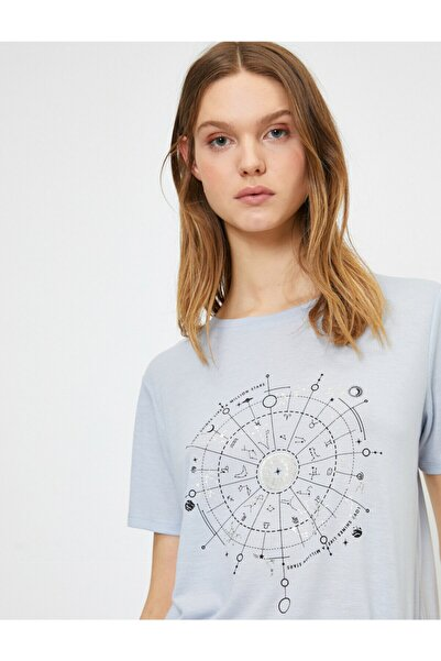 Koton Kadın Mavi Baskili T-shirt
