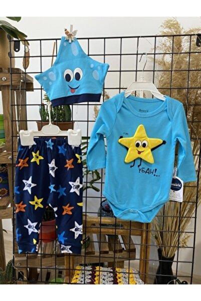 Miniworld Yıldız Modelli Üç Parça Aylık Bebek Takımı
