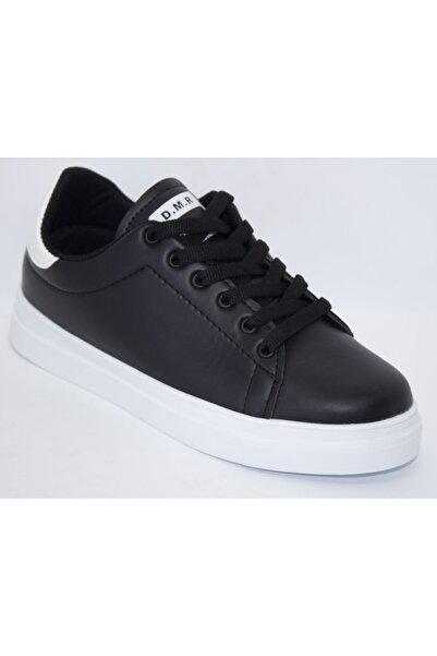 DMR Unisex Siyah Düz Tabanlı Cilt Spor Ayakkabı