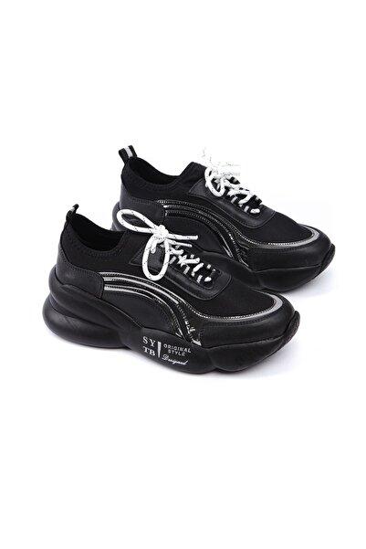 Limoya Kirsten Siyah Platin Şerit Detaylı Yüksek Tabanlı Bağcıklı Sneakers