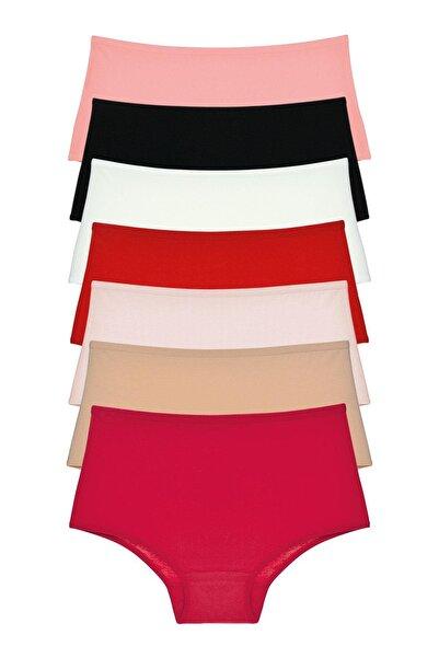 LadyMelex Kadın Çok Renkli Yüksek Bel Normal Beden Külot Paket 7'li