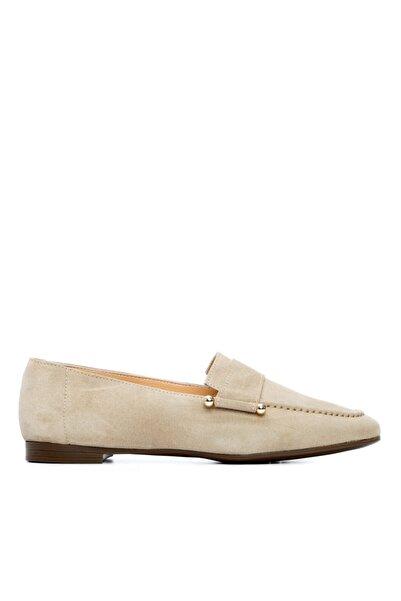 KEMAL TANCA Kadın Bej Deri Babet Ayakkabı