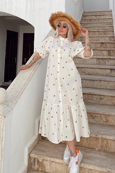 SwistLuxury Kadın  Beyaz Balon Kol Hakim Yaka Gömlek Elbise