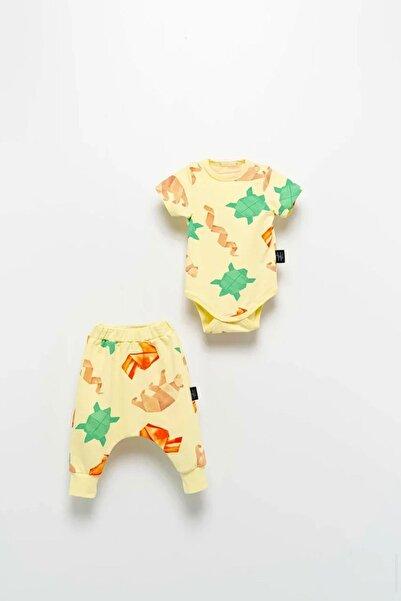 Moi Noi Unisex Bebek Sarı Body Takım