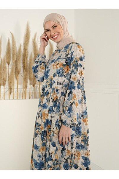 Tavin Kadın İndigo Çiçek Desenli Elbise