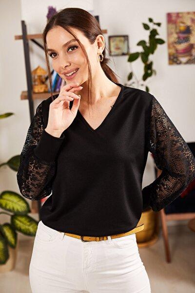 armonika Kadın Siyah V Yaka Kolu Tüllü Bluz ARM-21K001180