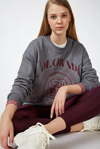 Happiness İst. Kadın Gri Baskılı Mevsimlik Sweatshirt DP00051