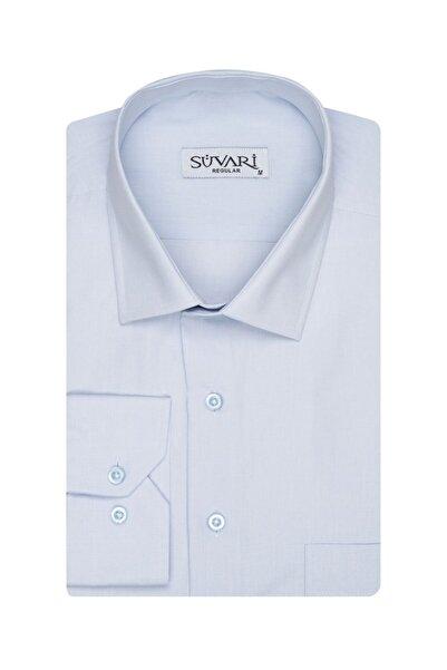 SÜVARİ Bol Kesim Düz Soluk Mavi Erkek Gömlek
