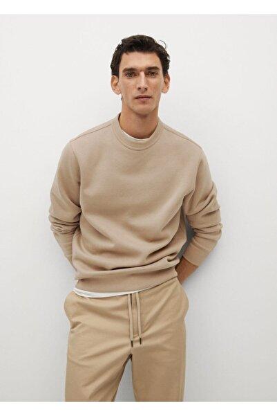 MANGO Man Erkek Kahverengi Peluş Sweatshirt