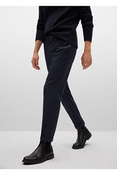 MANGO Man Mikro Kazayağı Desenli Yünlü Pantolon